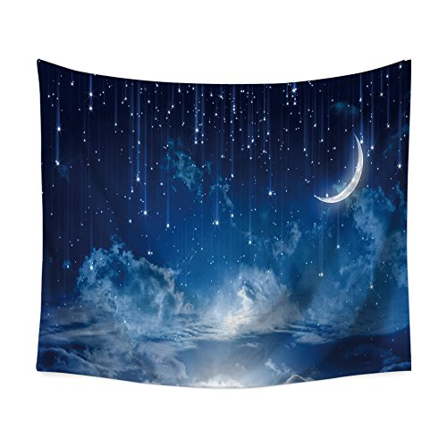 (Yangshine Starry Sky Galaxy Wall Tapestry Moon Falling Stars Clouds and Alluring Horizon Mysterious Space Wall Hanging Tapestry Universe Celestial Outer Space Wall Decor (80