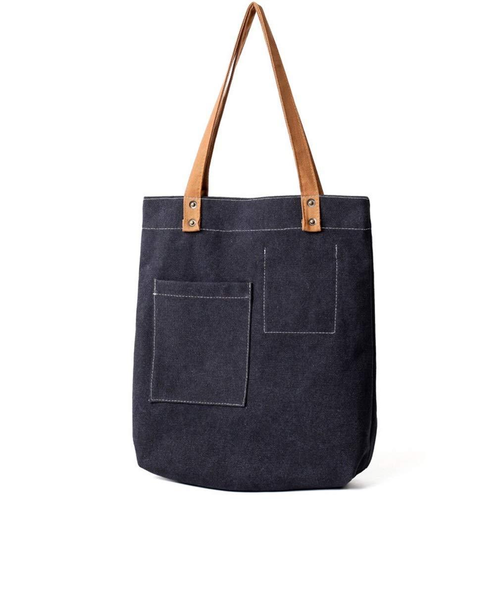 WHXYAA Ladies Canvas Shoulder Commuting Tote Bag Large-Capacity Shopping Beach Bag (Black) Simple Atmosphere