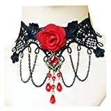 Lefinis Red Flower Rose Beads Popular Girl Gothic Lolita Black Lace Collar Choker Necklace Bracelet