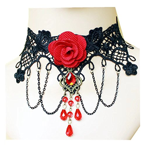 Lefinis Red Flower Rose Beads Popular Girl Gothic Lolita Black Lace Collar Choker Necklace Bracelet -