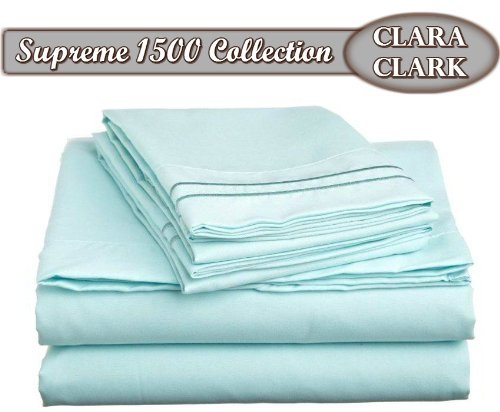 - Clara Clark Superior Bed Sheet Set - Double Brushed Microfiber 4-Piece Bed Set - Deep Pocket Fitted Sheet - Queen - Light Blue