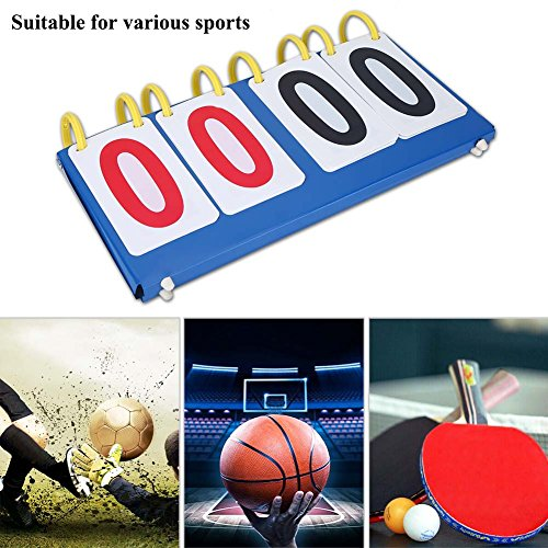 Portable Table Scoreboard 3/4 Digit Flip Table Tennis Score Board Sports Scoreboard for Volleyball Basketball Football Table Tennis Set Score (4 Digit Scoreboard )