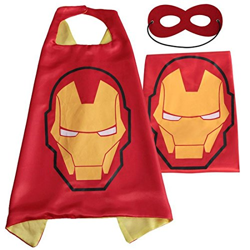 Superhero or Princess CAPE & MASK SET Kids Childrens Halloween Costume (Red & Yellow (Iron Man)) (Tony Stark Halloween Costume)
