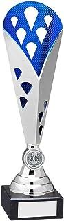 Lapal Dimension Argent/Bleu Hauteur Plastique Triangle Trophy–(1in Centre)–12,25en