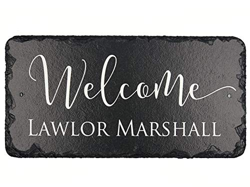 Welcome Personalized Slate - Sassy Squirrel Welcome Guests with This Beautifully Handcrafted and Customizable Slate Home Name Plaque Personalized House Sign with and Hardware. Improve The Curb Appeal of Your Property (12