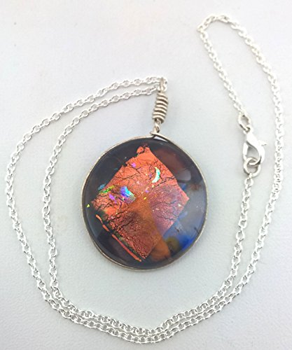 Orange and Multi Color Dichroic Glass Round Pendant on 18 Inch Silver Plated Chain
