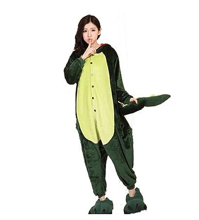 9d89dc4b4c Cálido franela animal de Onesie pijama adulto Unisex una pieza pijama verde  dinosaurios