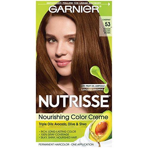 Garnier Nutrisse Nourishing Hair Color Creme, 53 Medium Golden Brown (Chestnut) (Packaging May Vary)
