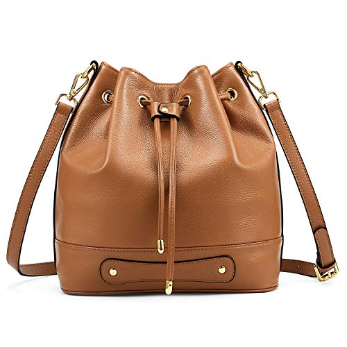 Kattee Drawstring Bucket Bag for Women, Cowhide Leather Crossbody Purse Shoulder Bag (Brown)