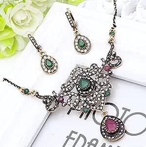Elegant Turkish Jewelry Sets: Green Flower Pendant
