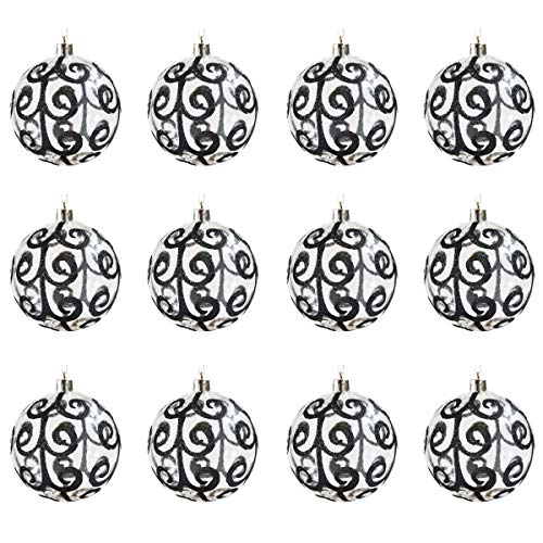 Sleetly 12pk Transparent Swirl Christmas Tree Ball Ornaments, Black, 3.15 inches (Christmas White Black Ornament Tree)