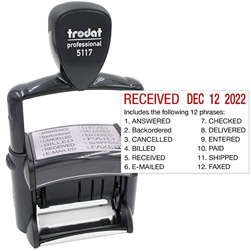 Trodat 5117 Professional 12-Message Stamp w/Dater, Self-Inking, Red Ink - Stamps Ink Office