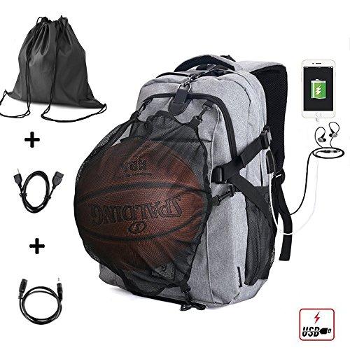 G1-Tech Basketball Backpack, Soccer Backpack, Football Backpack, Computer Backpack Laptop Backpack with USB Port, Headphone Pouch and Ball Holder with Basketball Net for Women/Men – Grey