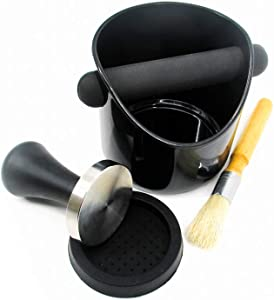 Espresso Coffee Knock Box Set with Stainless Tamper and Brush by Trademark Innovations