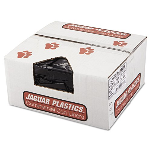 Jaguar Plastics R4046H Repro Low-Density Can Liners, 1.5 Mil, 40 x 46, Black, 10 Bags per Roll (Case of 10 Rolls)