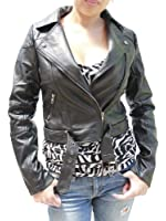 Cropped Moto inspired faux leather jacket