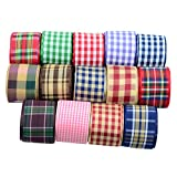 Jili Online 15 Pieces Retro Plaid Polyester Ribbon for Gift Wrapping Clothing Hair Bow Decoration