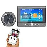 Z-SGML 7 Inch Wired Video Doorbell Wireless Digital Peephole Door Viewer 5'' Front Door Peephole Camera WiFi Doorbell with Remote Camera Video Unlock Night Vision Rainproof