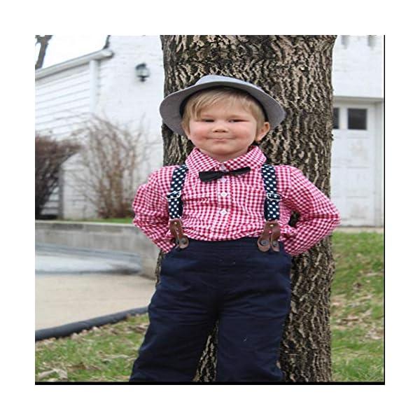 Yilaku Completini e Coordinati per Bambino 4 Pezzi Bambini Ragazzi Abbigliamento Set Camicia+Papillon+Pantaloni+Bretelle… 3