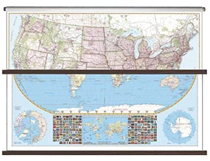 Amazon.com : Universal Map 26115 US-World Large Scale Combo Wall Map ...