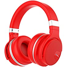 Mighty Rock E7 Bluetooth Headphones Over Ear with Built-in Mic and Volume Control Wireless Headphone, Hi-Fi Deep Bass, Comfortable Protein Earpads, 30 Hours Playtime-Red