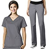 WonderWink Women's Scrub 7 Flex V-Neck Crossover Top & Pull On Pant Set