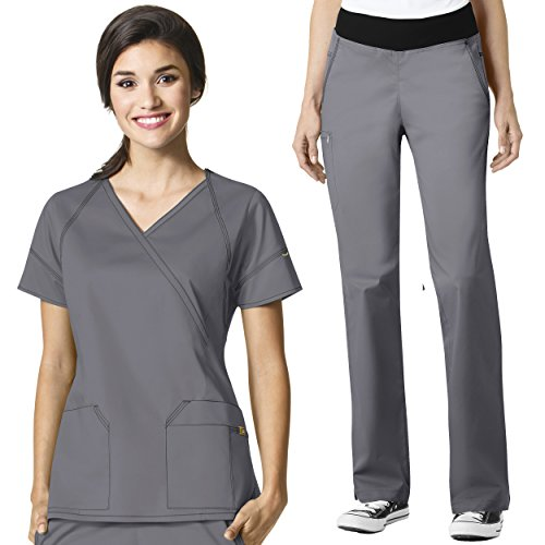 WonderWink Women's Scrub 7 Flex V-Neck Crossover Top & Pull On Pant Set by WonderWink