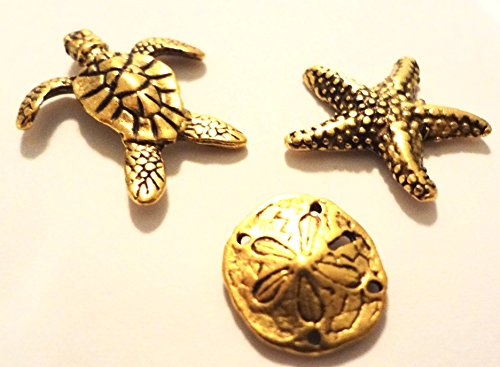 15 ANTIQUE GOLD SEA LIFE PUSH PINS, T82MG