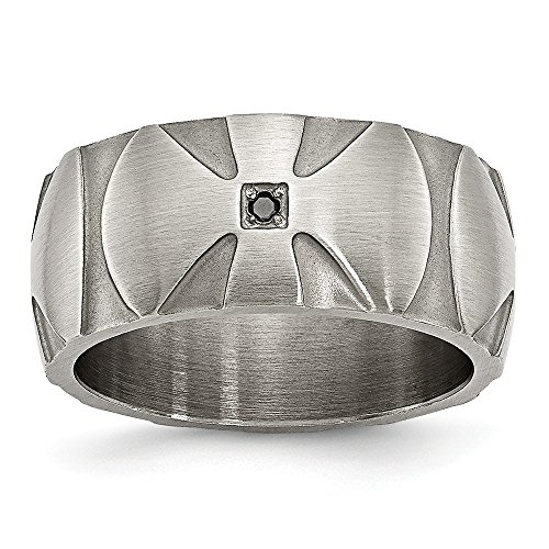 - Saris and Things Stainless Steel Matte/Antiqued Diamond Band Ring 10.5 Size