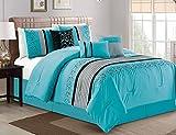 Luxlen 7 Piece Luxury Embroidered Bed in Bag Comforter Set, Oversized, Turquoise, Queen