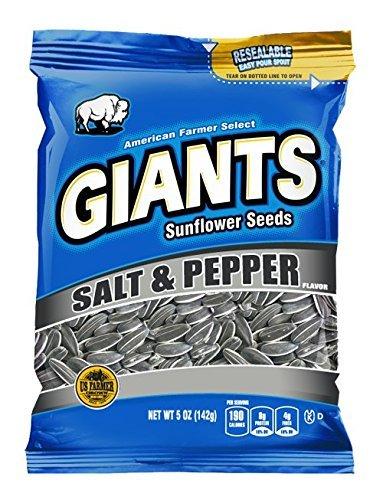 (Salt & Pepper Flavored GIANTS Sunflower Seeds(5 oz bag,12)