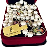 elegantmedical Handmade AAA 8-9MM Real Pearl Pearls Gift Rosary Seven Sorrows Mary Medal Necklace Box