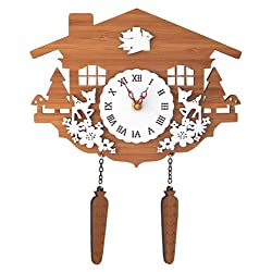 Comolife Natural & Calm & Silent Bamboo Cuckoo Clock - Fawn , AA Battery Operated, Designed by Japanese Designer, Size : 11.89 x 7.8 Inch