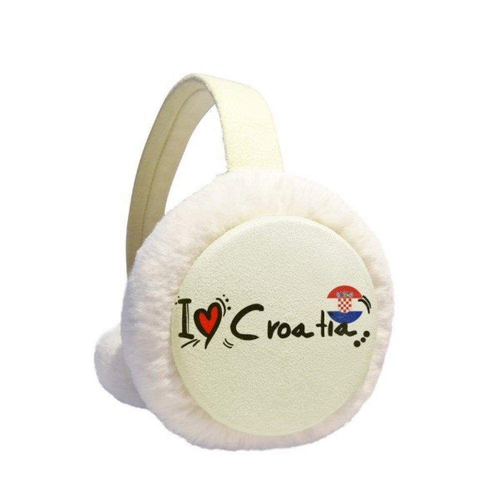 I Love Croatia Word Flag Love Heart Illustration Winter Earmuffs Ear Warmers Faux Fur Foldable Plush Outdoor Gift