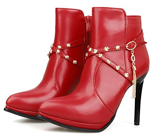 IDIFU Womens Sexy Studded Pointed Toe High Heels Stiletto Side Zipper Ankle Booties Red 3ci8xrkcf