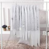 uxART Clear Non Woven Breathable Pack of 6 Garment Covers Storage Bags, 35'' 39'' 46'' Length Magnetic Travel Cloth Suit Bag Organizer Protector, White