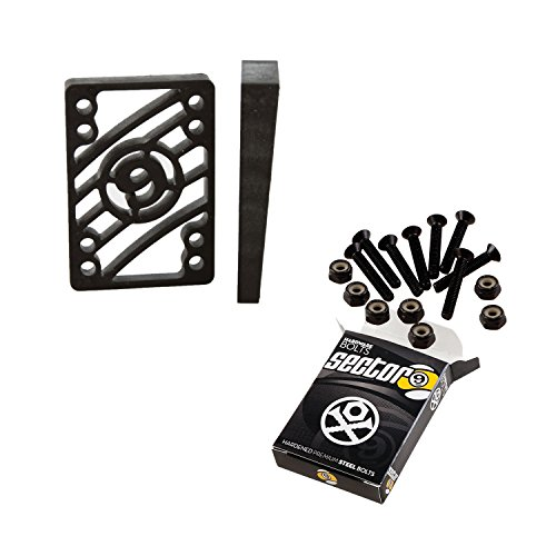 """Sector 9 Longboard 1 1/2"""" Hardware and Angled Risers Riser Pad Kit"""