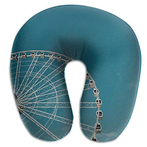 HUERY Worm's-Eye View of Ferris Wheel Double-Sided U-Shaped Travel Neck Pillow Cotton Soft Pillow Slow Rebound Material Pillow