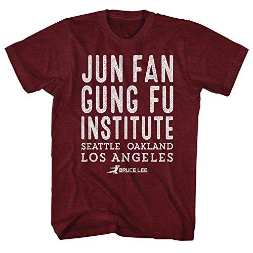 Bruce Lee Chinese Martial Arts Icon Jun Fan Gung Fu Institute Adult T-Shirt Tee Red (Jun Fan Gung Fu Institute T Shirt)