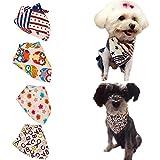Bro'Bear 4 Pcs Pet Bandana for Cats & Small to Medium Dogs Triangle Neckerchief (Style A--Flag+Owl+Stars+ABC)