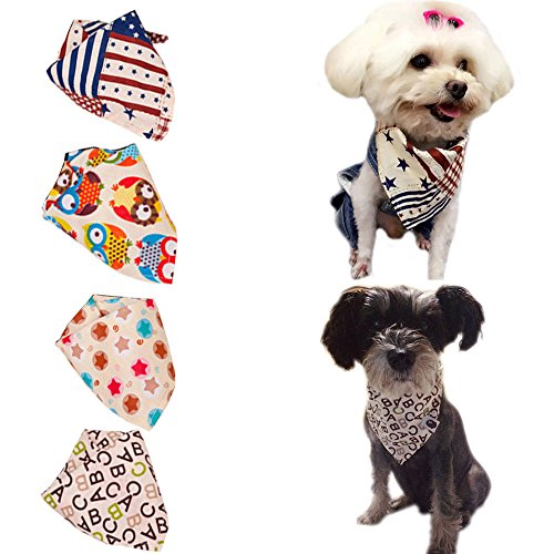 Bro'Bear 4 Pcs Pet Bandana for Cats & Small to Medium Dogs (Pet Bandana)
