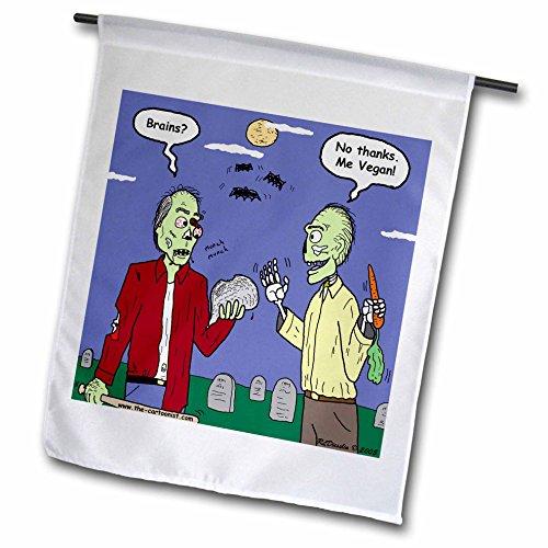 Rich Diesslins Funny General Cartoons, Halloween, Zombie Vegans, Flags, 12 x 18 inch Garden -
