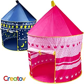 Creatov Kids Tent Toy Princess Playhouse - Toddler Play House Pink Castle for Kid Children Girls Boys Baby Indoor & Outdoor Toys Foldable Playhouses Tents with Carry Case Great Birthday Gift Idea