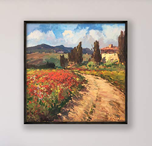 - Tuscan Landscape Painting on Canvas with Red Poppies Original Italy Country Home Decor Large Wall Art Gift