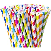 Besteek 200 Pack Striped Paper Straws, Biodegradable Decorative Straws, Colorful Rainbow Party Straws Carnivals and Crafts, for Party Decoration