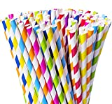 Besteek Biodegradable Paper Straws, 200 Pack Stripe Straws, 8 Different Colors Rainbow Party Fancy Paper Drinking Straws Bulk for Birthday, Wedding, Bridal/Baby Shower, Celebrations and Party Supplies