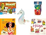 Children's Gift Bundle - Ages 3-5 [5 Piece] - Shrek Forever After Memory Game - Shape Sorter Fishing Fun Bath Toy - Ty Teenie Beanie Baby - Neon the Seahorse - It's Mine. A Book About Sharing Hardco