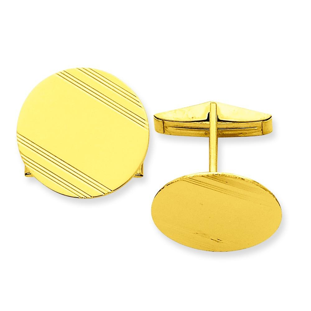 14K Yellow Gold Cuff Links Engravable Mens Jewelry