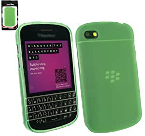 Emartbuy® Blackberry Q10 Frosted Pattern Gel Skin Cover Green