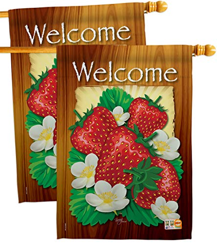 - Breeze Decor HP117023-P3AE Welcome Strawberries Food Fruits Impressions Decorative Vertical 28